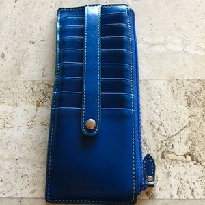 Vibrant blue credit card wallet w/green piping☺️